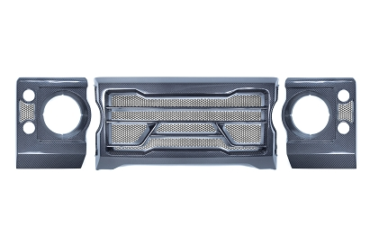 Land Rover Defender Carbon Front Grille & Headlight Bezels Set